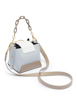 Detail View - Click To Enlarge - Yuzefi - 'Mini Delila' oversized ring leather bucket bag