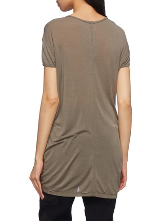 Back View - Click To Enlarge - Rick Owens - 'Hiked' asymmetric drape hem long T-shirt