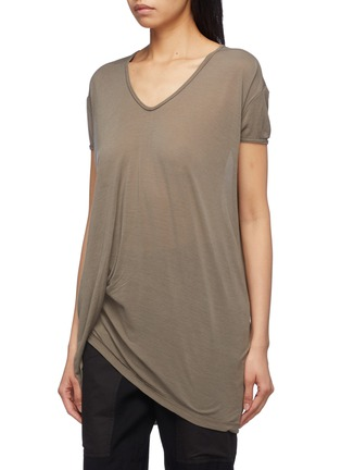 Front View - Click To Enlarge - Rick Owens - 'Hiked' asymmetric drape hem long T-shirt