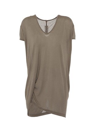 Main View - Click To Enlarge - Rick Owens - 'Hiked' asymmetric drape hem long T-shirt