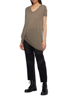 Rick Owens 'Hiked' asymmetric drape hem long T-shirt