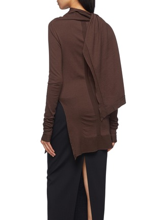 Back View - Click To Enlarge - Rick Owens - Asymmetric cape panel layered sweater
