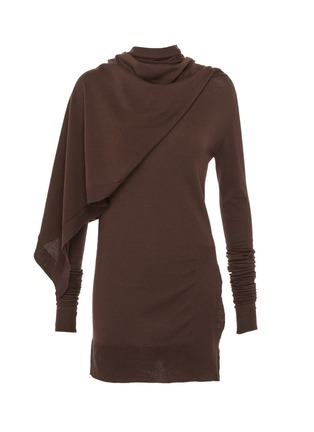 Main View - Click To Enlarge - Rick Owens - Asymmetric cape panel layered sweater