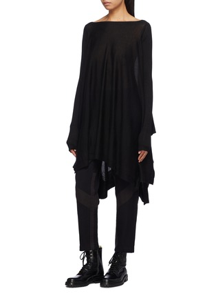 Front View - Click To Enlarge - Rick Owens - Drape cashmere poncho sweater