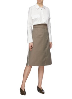 COMME MOI Flap pocket tie sleeve shirt