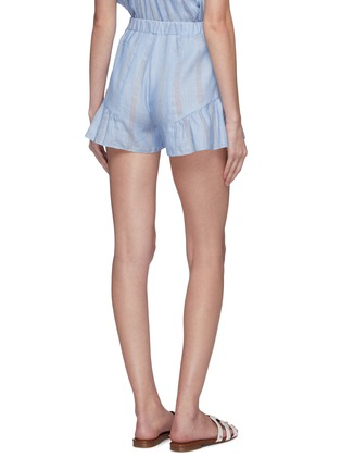 Back View - Click To Enlarge - LEMLEM - 'Bekele' flared ruffle cuff cotton-linen shorts