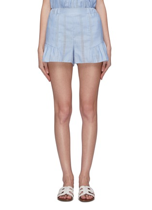 Main View - Click To Enlarge - LEMLEM - 'Bekele' flared ruffle cuff cotton-linen shorts