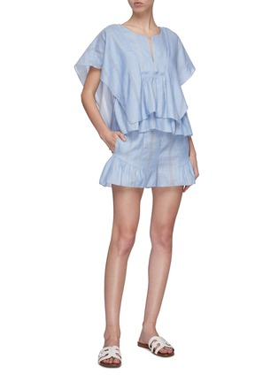 Figure View - Click To Enlarge - LEMLEM - 'Bekele' flared ruffle cuff cotton-linen shorts