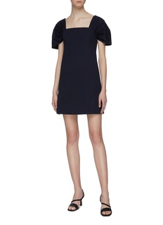 Theory Ruched sleeve off-shoulder dress