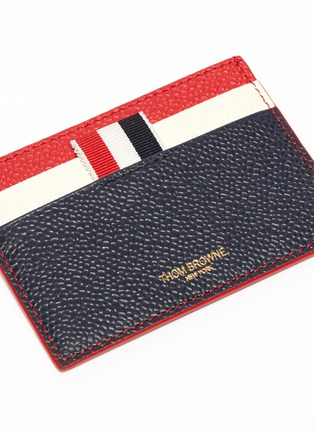 Detail View - Click To Enlarge - Thom Browne - Colourblock pebble grain leather card holder
