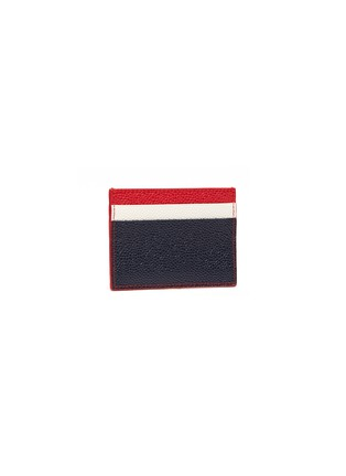 Figure View - Click To Enlarge - Thom Browne - Colourblock pebble grain leather card holder