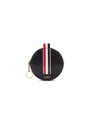 Main View - Click To Enlarge - Thom Browne - Stripe pebble grain leather coin pouch