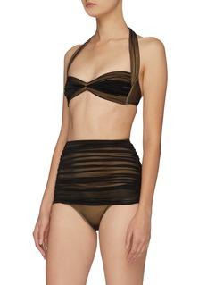 Norma Kamali 'Bill' mesh overlay ruched halterneck bikini top