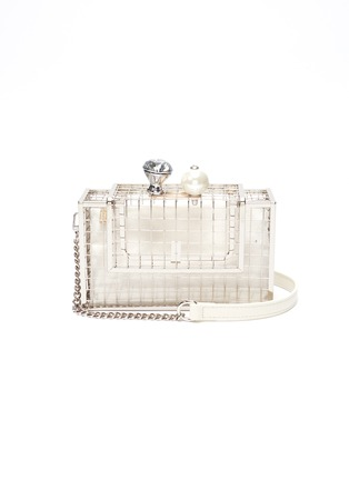 Main View - Click To Enlarge - CECILIA MA - 'Bingo' faux pearl glass crystal charm cage brass clutch