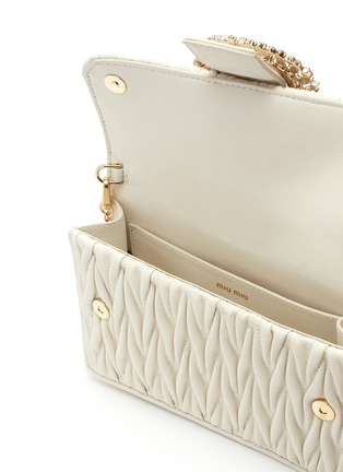 Detail View - Click To Enlarge - Miu Miu - Jewelled buckle matelassé leather chain shoulder bag
