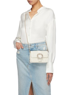 Miu Miu Jewelled buckle matelassé leather chain shoulder bag