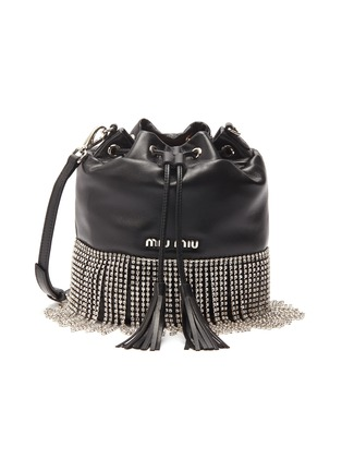 ff42dc0a4f04 Main View - Click To Enlarge - Miu Miu - Glass crystal fringe leather  bucket bag