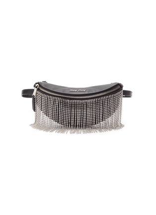 Main View - Click To Enlarge - MIU MIU - Glass crystal fringe leather bum bag