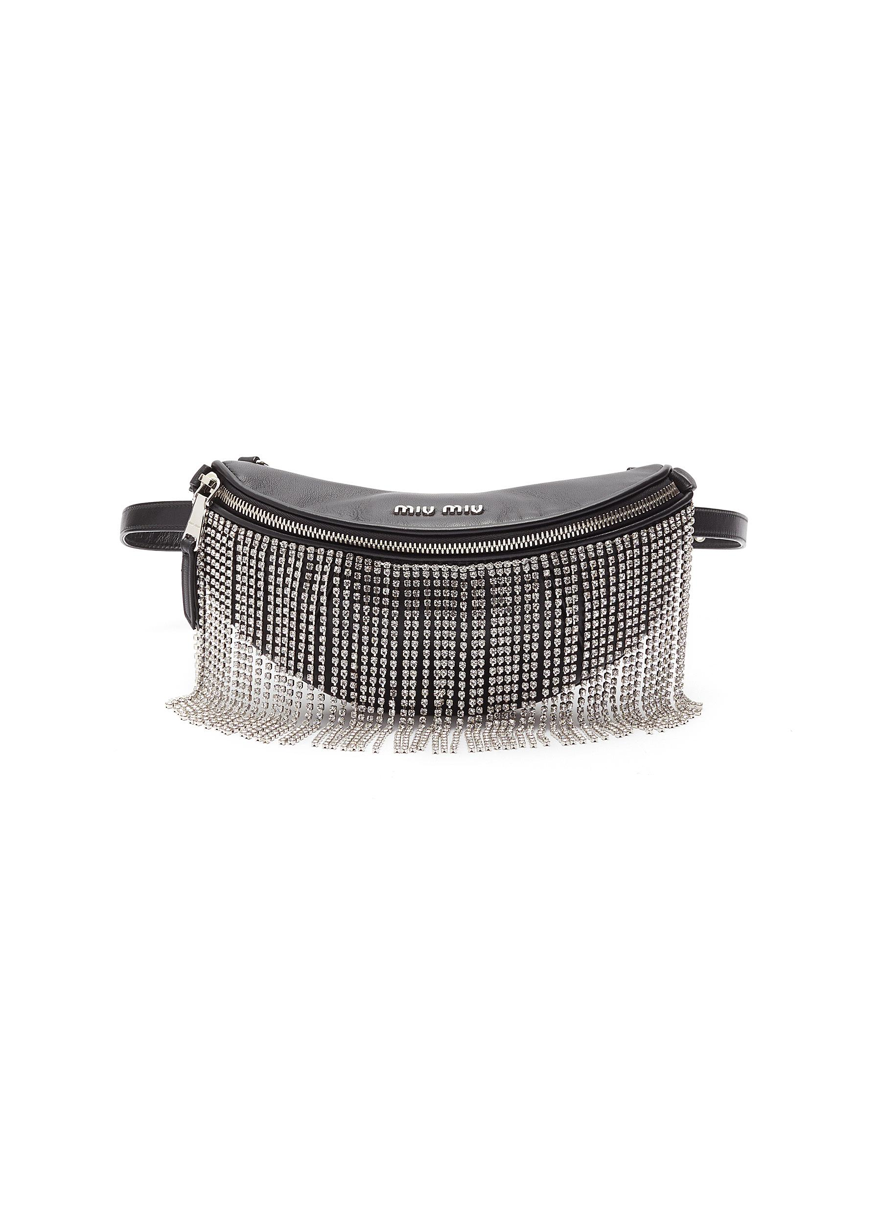 6fbe72bc1c23 Main View - Click To Enlarge - Miu Miu - Glass crystal fringe leather bum  bag