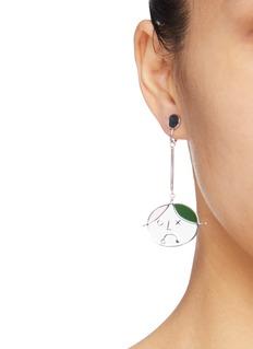 OOAK 'Amigo' face mismatched drop clip earrings