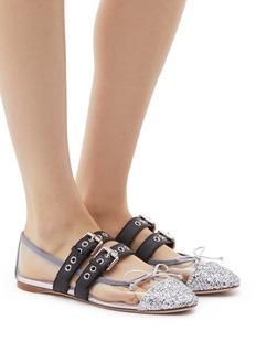 Miu Miu Glitter panel buckle strap PVC ballet flats