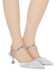miu miu Glitter mesh strappy pumps