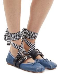 Miu Miu Lace-up buckled strap ballet flats