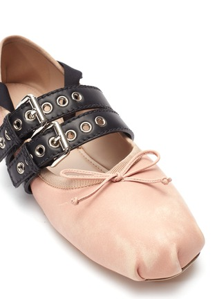 Detail View - Click To Enlarge - miu miu - Lace-up buckled strap ballet flats