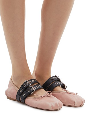 Front View - Click To Enlarge - miu miu - Lace-up buckled strap ballet flats