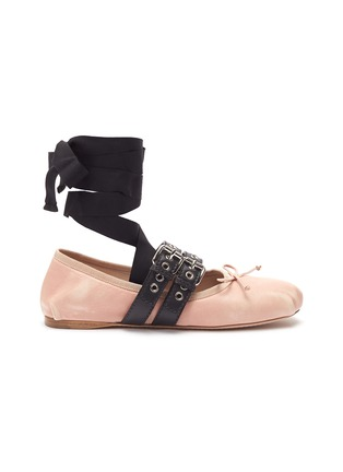 Main View - Click To Enlarge - miu miu - Lace-up buckled strap ballet flats