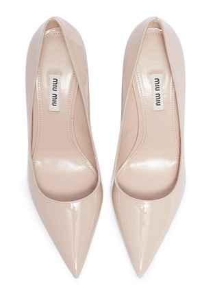 Detail View - Click To Enlarge - MIU MIU - Strass heel patent leather pumps