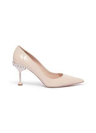 Main View - Click To Enlarge - MIU MIU - Strass heel patent leather pumps