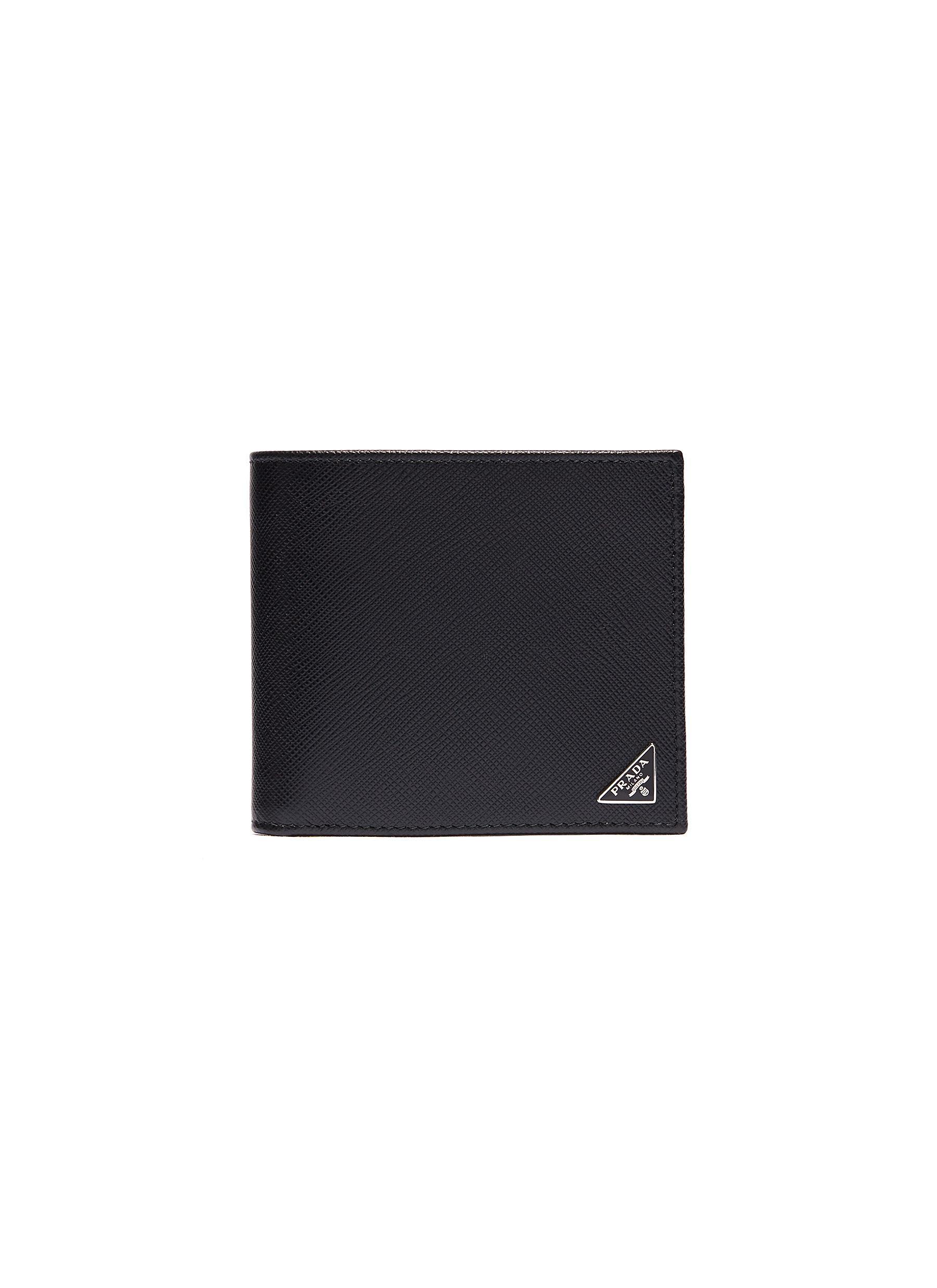 Prada Wallets Logo plate saffiano leather bifold wallet