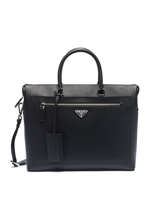 1aacb9133ee2 Prada. Logo plate saffiano leather messenger bag. US 2