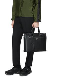 Prada Logo plate saffiano leather messenger bag