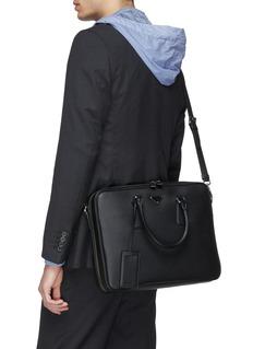 Prada Logo plate saffiano leather briefcase