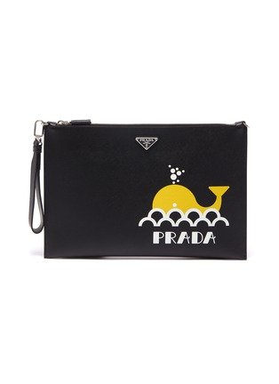 032b09d9495d Prada Logo graphic whale print saffiano leather pouch