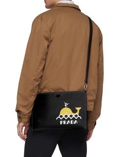 Prada Logo graphic whale print saffiano leather pouch