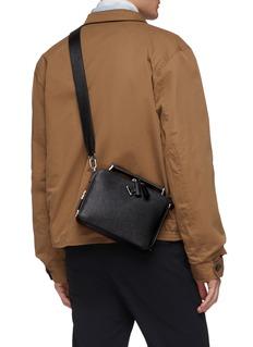 Prada Logo plate mini saffiano leather messenger bag