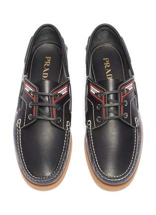 Detail View - Click To Enlarge - Prada - Leather deck shoes