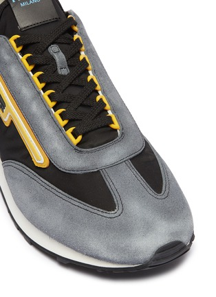 Detail View - Click To Enlarge - Prada - 'MLN70' logo patch suede panel sneakers