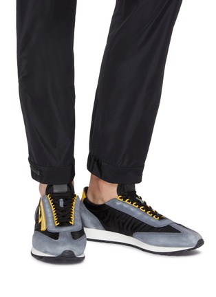 Figure View - Click To Enlarge - Prada - 'MLN70' logo patch suede panel sneakers
