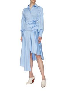 MATÉRIEL Detachable corset belt asymmetric pleated shirt dress