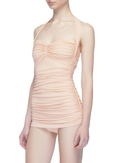 Norma Kamali 'Bill Mio' ruched halterneck one-piece swimsuit