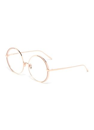 Main View - Click To Enlarge - LINDA FARROW - Contrast rim metal round optical glasses