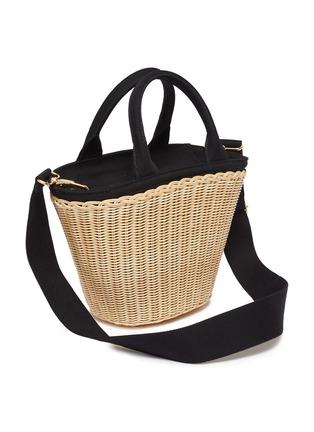 Detail View - Click To Enlarge - Prada - Canvas trim wickerbasket bag