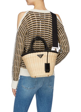 Front View - Click To Enlarge - Prada - Canvas trim wickerbasket bag