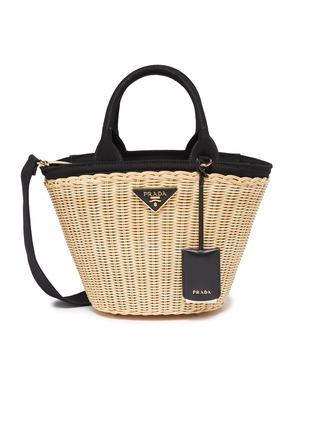 Main View - Click To Enlarge - Prada - Canvas trim wickerbasket bag