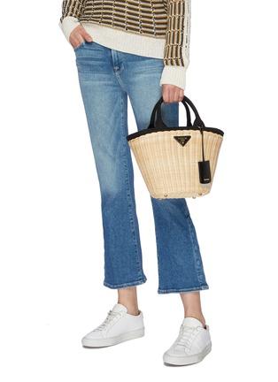 Figure View - Click To Enlarge - Prada - Canvas trim wickerbasket bag