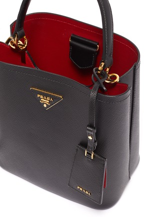 Detail View - Click To Enlarge - Prada - 'Double' small leather tote bag